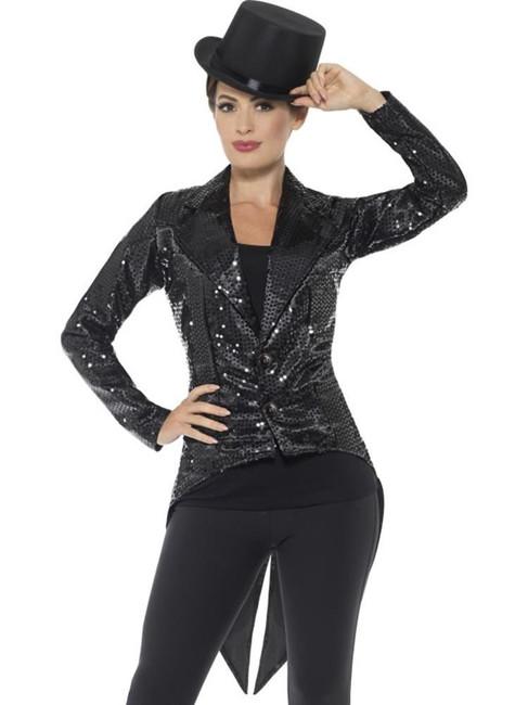Sequin Tailcoat Jacket, Ladies, Party & Carnival. Black UK Size 12-14