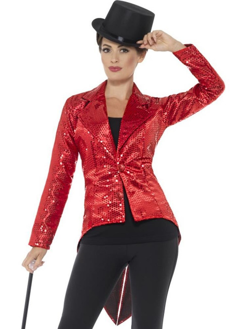Red Sequin Tailcoat Jacket, Ladies, Party & Carnival. Red UK Size 8-10
