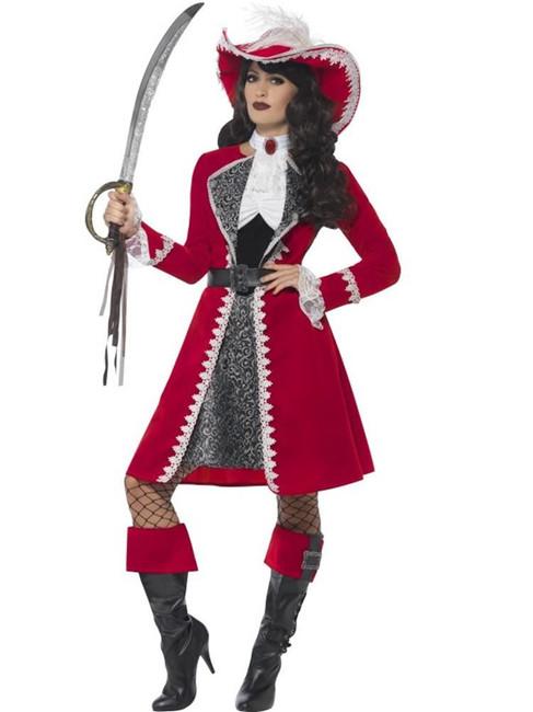 Deluxe Authentic Lady Captain Costume, Large, Fancy Dress, Womens, UK 16-18