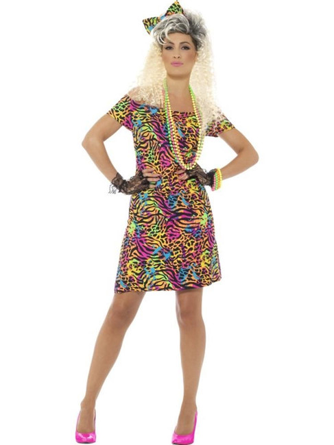 Neon 80's Party Animal Costume, 1980's Fancy Dress. UK Size 12-14