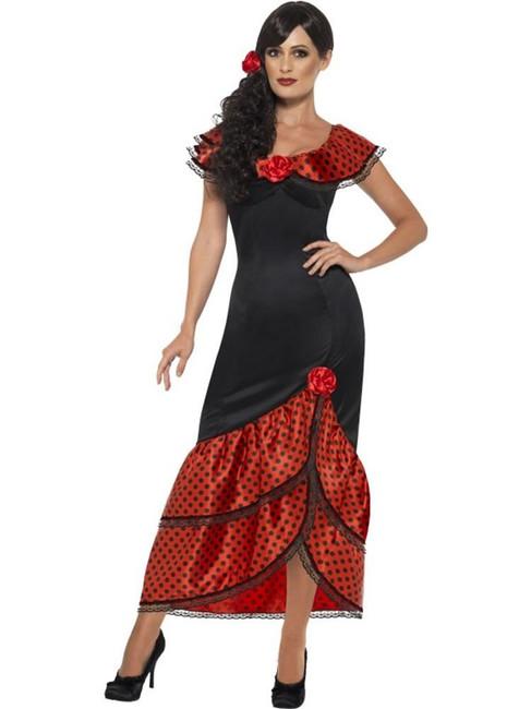 Flamenco Senorita Costume, Small, Spanish Salsa Fancy Dress, Womens, UK 8-10
