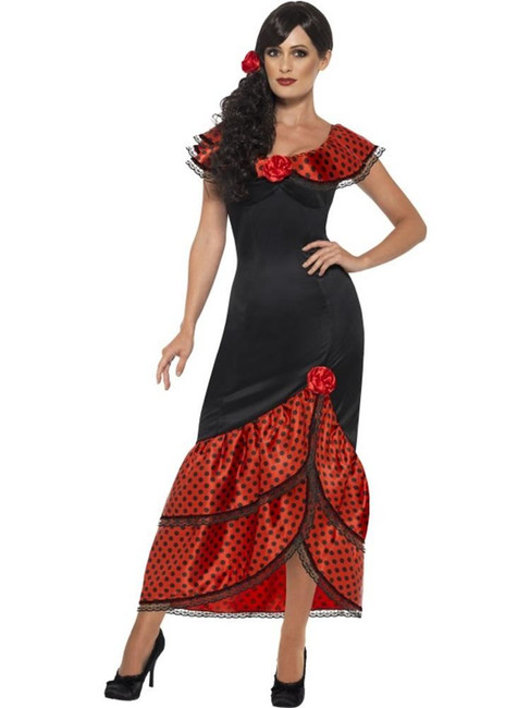 Flamenco Senorita Costume, XL, Spanish Salsa Fancy Dress, Womens, UK 20-22
