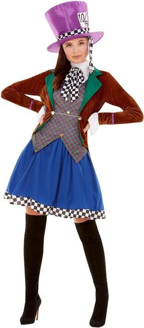 Miss Hatter Costume, Womens Fairy Tale Fancy Dress, UK Size 4-6