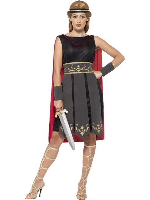 Roman Warrior Costume, Medium, Historical Fancy Dress, Womens, UK 12-14