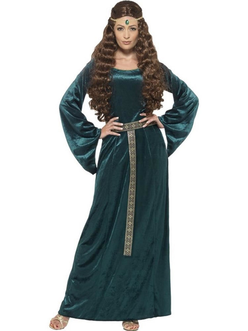 Medieval Maid Costume, Large, Historical Fancy Dress, Green, UK 16-18