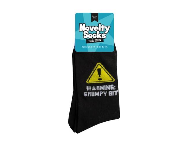 Mens Novelty Socks, Warning Grumpy Git
