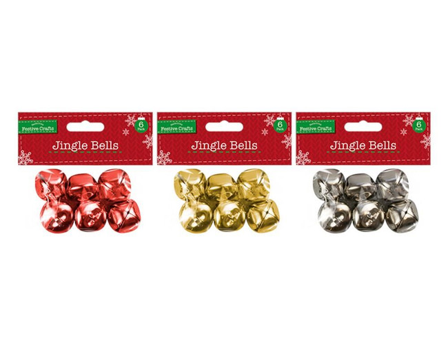 Extra Large Jingle Bells 3 Packs, Red/Gold/Silver (18 Bells)