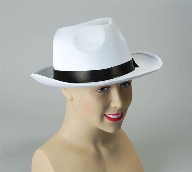 Gangster Hat. White Satin Finish.