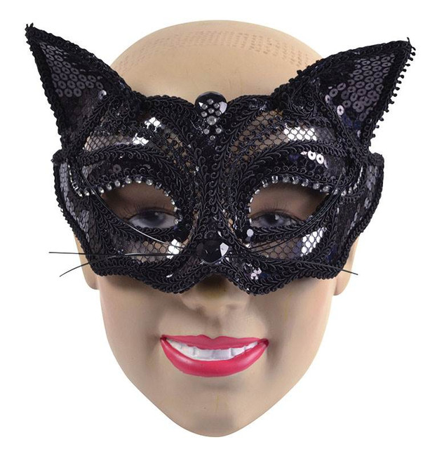 Black Cat Sequin Mask (on glasses style frame)