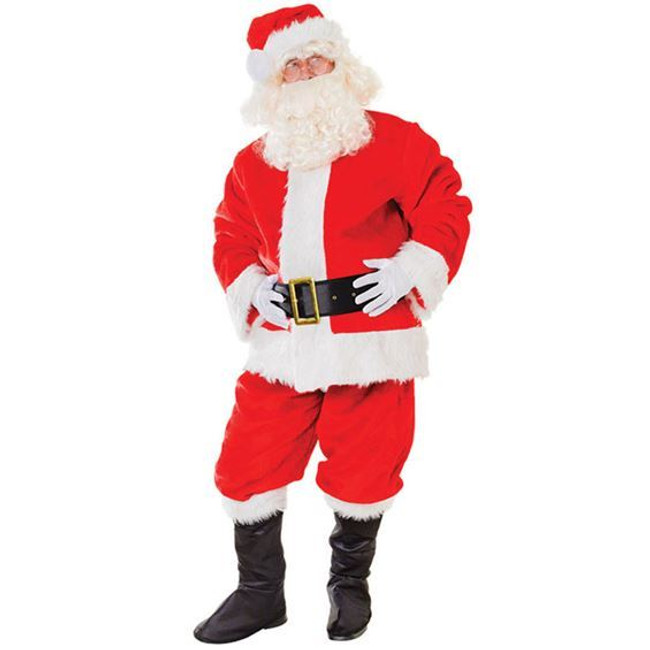 Santa Suit. Plush Deluxe Father Christmas Costume