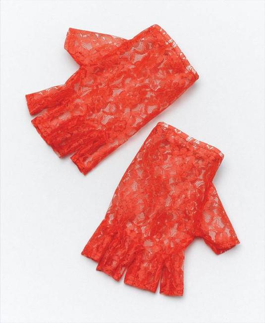 Red Short Fingerless Gloves.