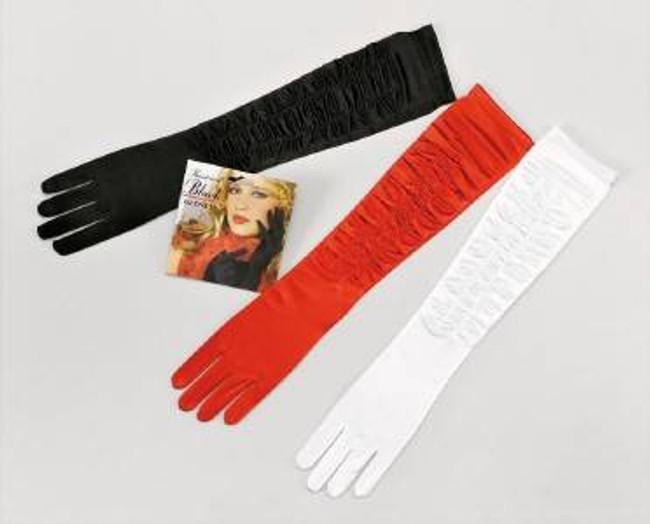 Gloves. Black Satin Theatrical.