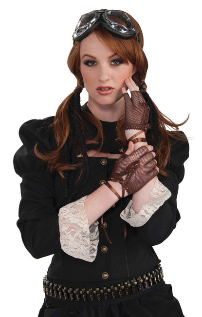 Steampunk Fingerless Gloves. Brown