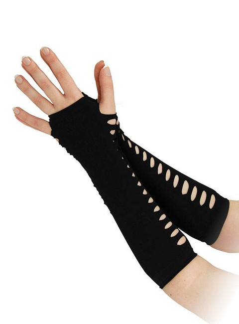 "Gloves. Ladder Style Black 10""."