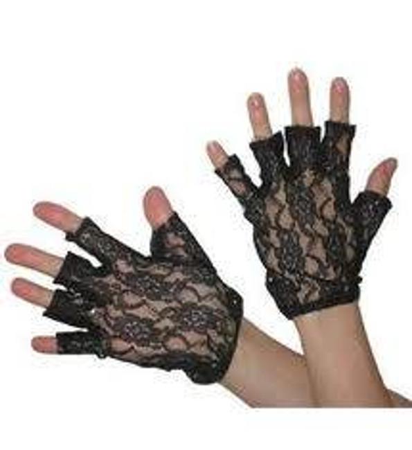 """Lacegloves 9"""" Fingerless.Black."""