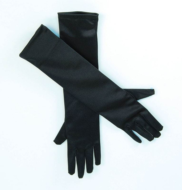"Gloves. Satin 19"" Black."