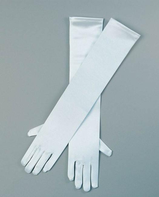 """Gloves. Satin 19"""" White."""