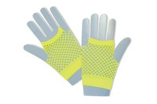 Fishnet Gloves Short Yellow.