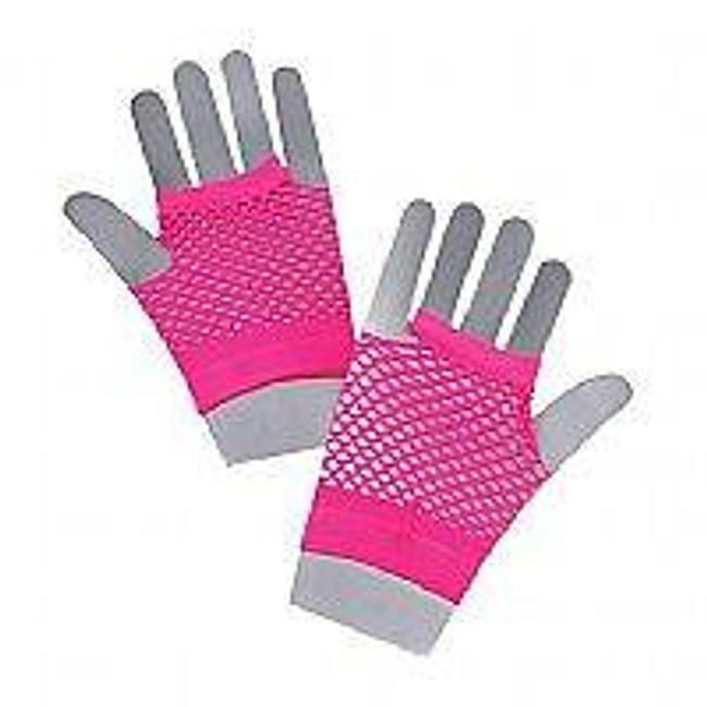 Fishnet Gloves Short Neonpink.