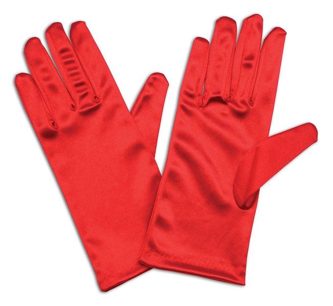 "Gloves, Satin 9"" Red"