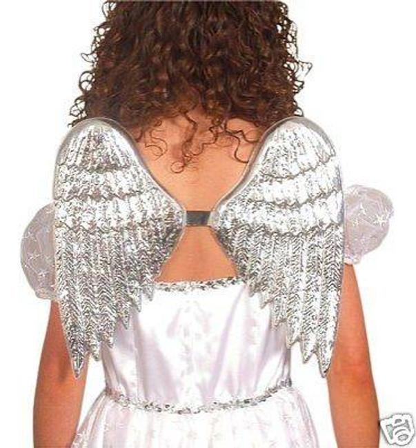 Angel Wings.Large, Silver Plastic.