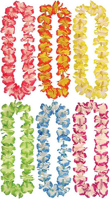 Pack of 12 Hawaiian Leis + Beads (6 Asstd Colours)