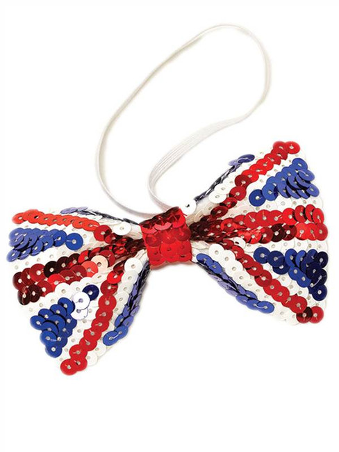 Union Jack Sequin Bow Tie.