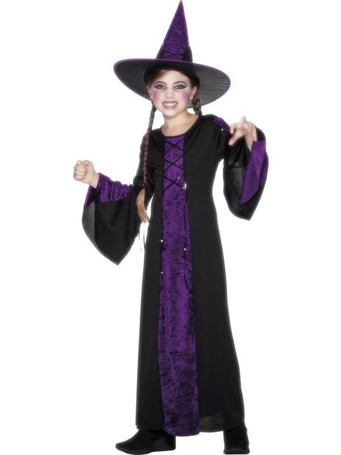 Bewitched Costume, Black and Purple, GIRLS Medium Age 7-9