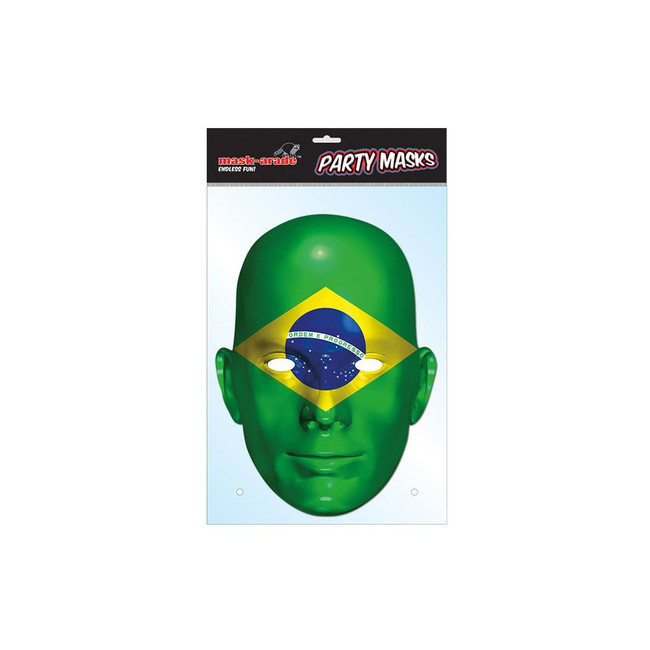 Brazil Flag Face Face Card Mask