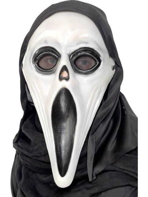 Glow in the Dark Screamer Mask, Black and White.  One Size