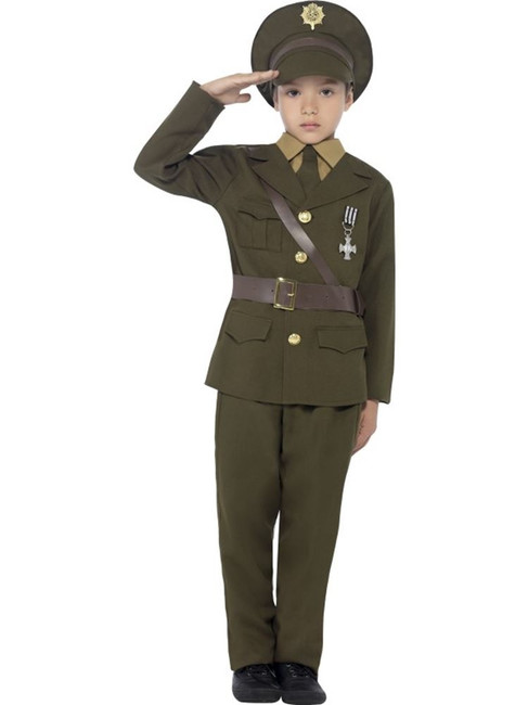 Army Officer Costume, Jacket with Attached Belt, Large Age 10-12