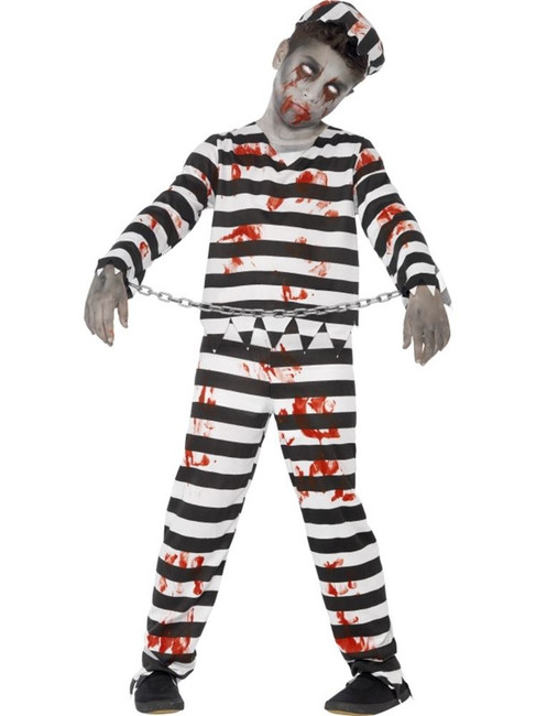 Zombie Convict Costume, Large Age 10-12