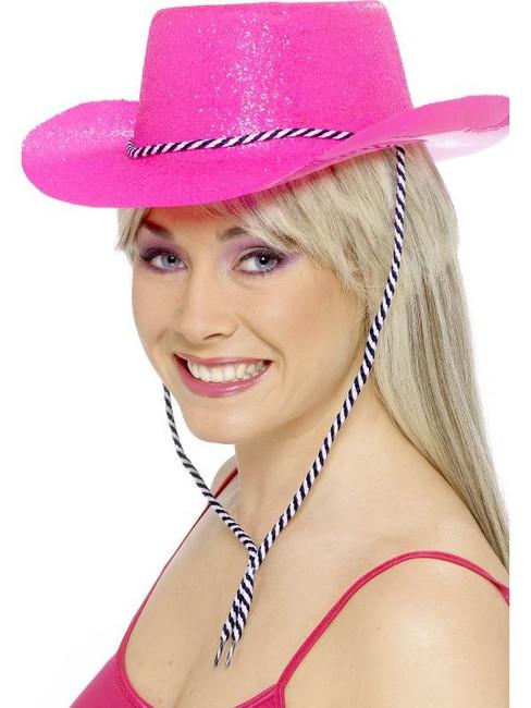 Cowboy Glitter Hat, Neon Pink