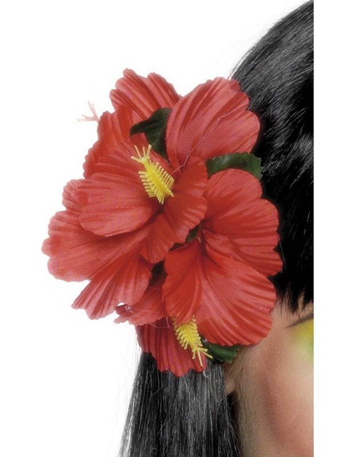 Red Hawaiian Flower Hair Clip.