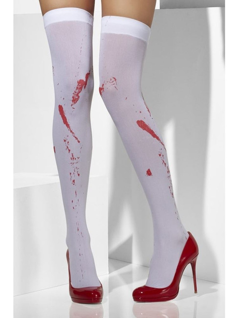 Opaque Hold-Ups, White, Blood Stain Print, Bloody Stockings