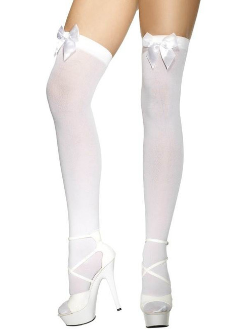 Thigh High Stockings White, One Size