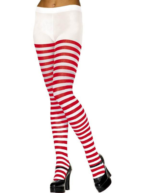 Striped Tights, Red and White, One Size