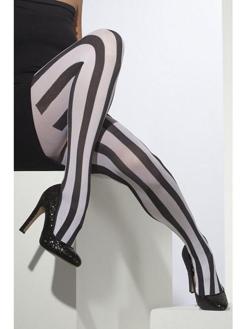 Opaque Tights, Black & White, Striped