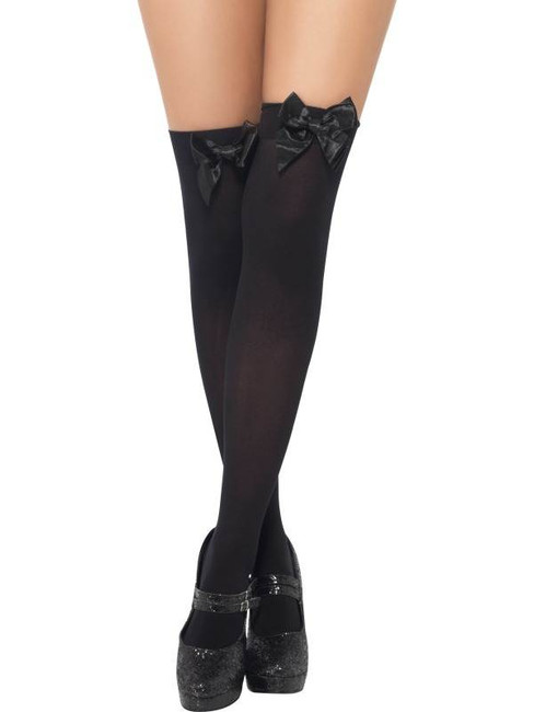 Thigh High Stockings Black with Bow, One Size