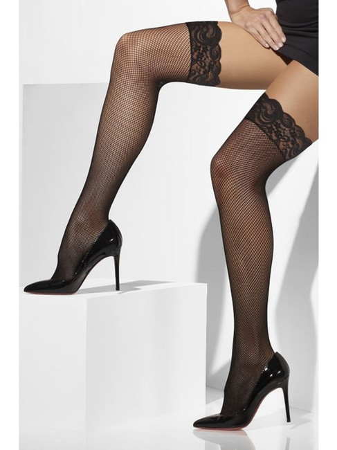 Black Fishnet Hold-Ups, Lace Tops with Silicone
