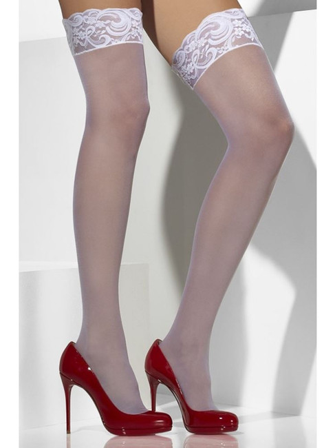 White Sheer Hold-Ups, Lace Tops with Silicone