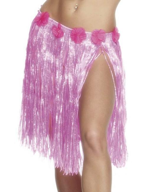 Hawaiian Hula Skirt. Pink with Flower Waistband