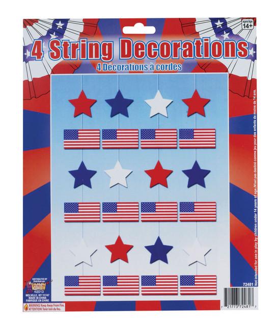 USA 4 String Decorations, Stars & Stripes