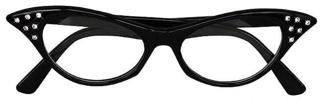 50s Black Diamante Glasses