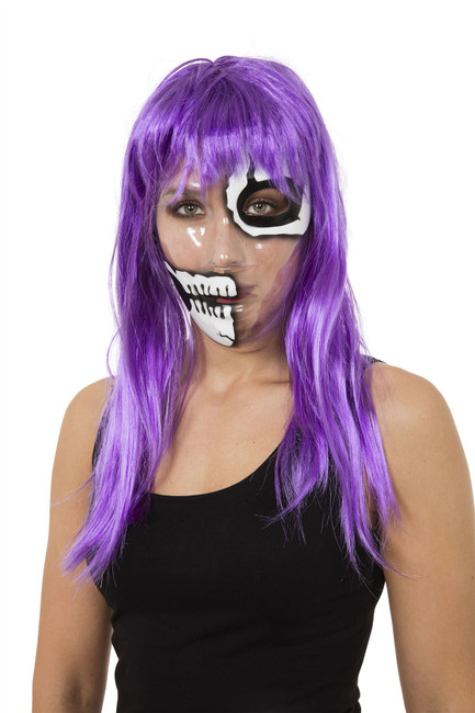 Transparent Mask Skeleton 1/2 Face Print