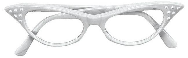50s White Diamante Glasses