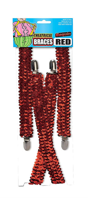 Sequin Braces Red, Sexy Clown, 1980s Fancy Dress, Fashion Accessory