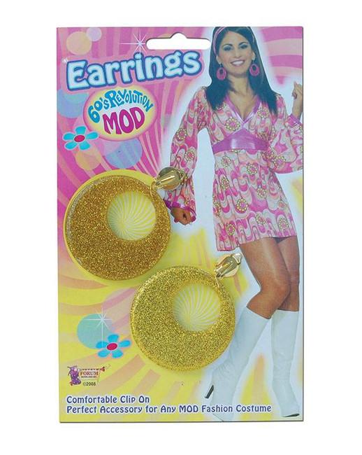 Gold Mod Glitter Ear Rings,  1960s 1970s Jewellery Fancy Dress Accessory