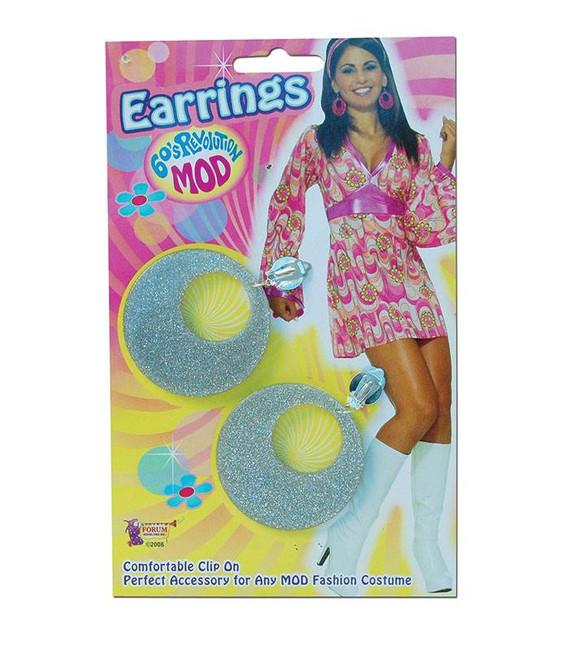 Silver Mod Glitter Ear Rings,   1960s 1970s Jewellery Fancy Dress Accessory