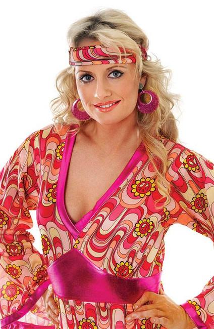 Pink Mod Glitter Ear Rings,   1960s 1970s Jewellery Fancy Dress Accessory